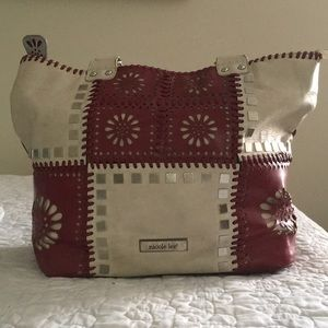 Nicole Lee large red and ivory patchwork tote